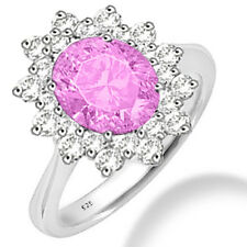 Silver Dew 925 Sterling Silver  Halo Pink CZ Ring