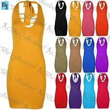 Womens Stretch Sleeveless Halter Neck Bodycon Ladies Tie Back Mini Dress UK 8-14