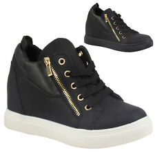 WOMENS LADIES ZIP LOW HEEL WEDGE SNEAKERS FLAT ANKLE BOOTS SHOES TRAINERS SIZE