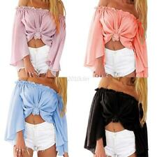 Mujer Camisas Casual Chiffon Off Shoulder T-shirts Long Sleeve Blouse Crop Tops