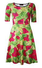 Ladies Multi Sticky Notes Notepad All Over Printed Short Sleeve Skater Dress