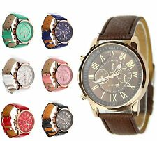 Ladies watches Geneva Double Scales Quartz Watch with Leather Band