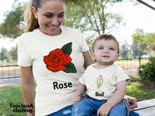 Rose Bud Beautiful Flower Mum Mummy Mother Daughter Family Matching T shirts