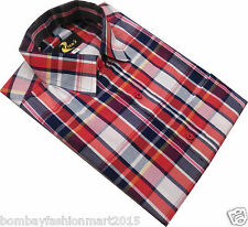 Red casual checks shirt for men half / full sleeve
