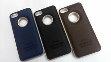 Leather Finish Hard Back Case Cover For Apple Iphone 4S & 4G Metallic Brushed