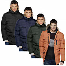 Mens Winter Coat by Brave Soul 'Everest' Padded Quilted Jacket Hooded S-XL