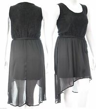 Ladies New Sexy Chiffon Dipped Hem Dress Lined Lace Top Size 22 24 26