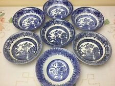 EIT English Ironstone 7 x Old Willow Blue & White Soup / Cereal Bowls Mis-match