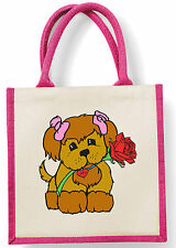 Puppy Love Rose Romantic Valentine Cute Dog Pet Birthday Christmas Pink Jute Bag