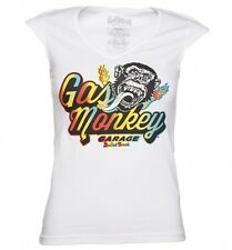 Women's White Fast N' Loud Gas Monkey Garage Disco Monkey T-Shirt