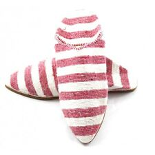 Striped slippers made of Carpet Kilim Pink and White fabric for Women - moroccan