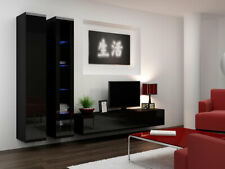 3 teilige wohnwand lowbord wandbord regal tv schrank ahorn hochglanz weiss ebay. Black Bedroom Furniture Sets. Home Design Ideas