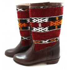 Berber Carpet Boots made of Leather and Red Kilim - women shoes - Moroccan leath