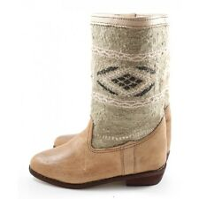 Berber Boots made of Carpet Leather and Beige Kilim - women shoes - Moroccan lea