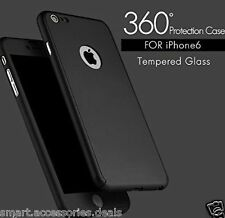 Full Body Protection 360 Degree Hard Case Cover & Tempered Glass For iPhone 5 5S