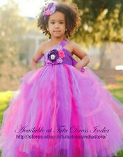 PURPLE MIX TUTU DRESS FOR GIRL INFANTS - BIRTHDAY, PARTY, FREE BAND