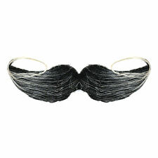Black / Grey Stick On Self Adhesive Curly Halloween Fancy Dress Moustache