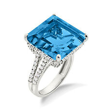 925 Sterling Silver Princess cut Women's Engagement Blue Topaz Ring For Gifting
