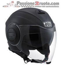 Casco jet moto Agv Fluid nero opaco satinato black matt