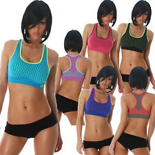 Damen Funktions BRA Sport BH Top Paddings Cropped S 34 36 Push up Fitness Shirt