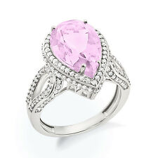 925 Sterling Silver Pink Amethyst Cocktail Engagement Ring In White Gold Plated