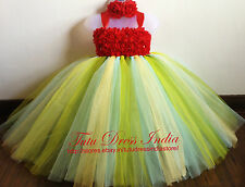 RED GREEN TUTU DRESS REAL PICTURE FOR GIRL INFANTS - BIRTHDAY, PARTY, FREE BAND
