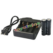 2x 3.7V 18650 6000mAh Li-ion Rechargeable Battery for LED Torch + Smart Charger