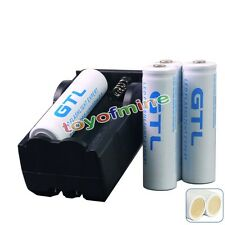 4x 18650 10000mAh GTL 3.7V Batteria ricaricabile w / PCB per LED Torch + Charger