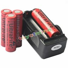 4pcs 3.7V 18650 UF Li-ion 6800mAh batteria ricaricabile per LED Torch + Charger