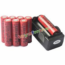 8x 18650 UF Li-ion 3.7V 6800mAh batteria ricaricabile per Flash light + Charger