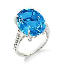 925 Sterling Silver Blue Topaz Oval Shape Cocktail Contemporary Ring For Women