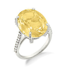 Divine Yellow Citrine Oval Shape Cocktail Contemporary Ring For Her For Gifting