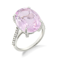 Pink Amethyst 925 Sterling Silver Oval Shape Cocktail Engagement Ring For Women