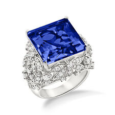 925 Sterling Silver Blue Sapphire Cocktail Ring  In White Gold Plated For Gift