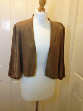 H&M tan brown suede feel cropped blazer smart/casual shrug office work SIZE 8/10