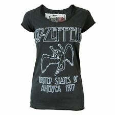 Amplified Ladies Led Zeppelin 77 Tour Rock T Shirt Charcoal NEW Official
