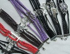 BRACELETS - Multi Strand Braided LEATHER CHARM BRACELETS - SILVER A