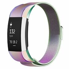 Stainless Steel Magnetic Milanese Loop Wrist Strap Band For Fitbit Charge 2