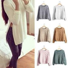 Damen Casual Knitted Jumper Sweater Loose Long Sleeve Tops Pullover Cardigan