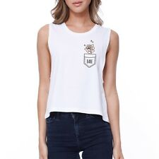 Babe Pocket Rose Crop Tee Cute Sleeveless Shirt Junior Tank Top