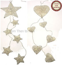 6 White Garland String LED Lights Battery Operated Wedding Christmas Chic Shabby