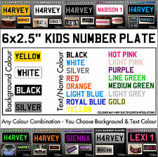 """6x2.5"""" Kids Plastic Number Plate Ride On Toy Car Childrens Childs with Name/Reg"""