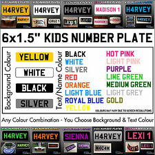 "6x1.5"" Kids Plastic Number Plate Ride On Toy Car Childrens Childs with Name/Reg"