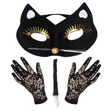 Deluxe Cat Woman Masquerade Costume Set - Mask, Lace Gloves & Tail