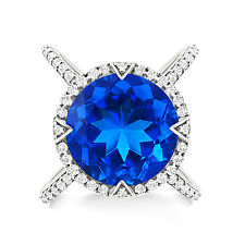 Silver Dew 925 Sterling Silver Blue Sapphire Round  Cocktail Engagement Ring