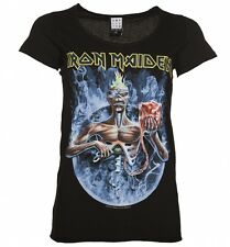 Official Women's Black Iron Maiden Seventh Son Circle T-Shirt from Amplified