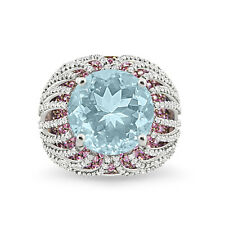 Silver Dew 925 Sterling Silver  Aquamarine  Round Cocktail Engagement Ring