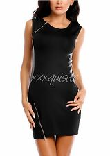 Black Faux Leather Panel Sleeveless Plus Size Mini Party Evening Cocktail Dress