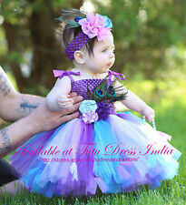 PEACOCK BLUE TUTU DRESS FOR GIRL INFANTS - BIRTHDAY, PARTY,FREE BAND
