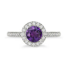 925 Sterling Silver Amazing Purple Amethyst Halo Studded Ring For Woman's